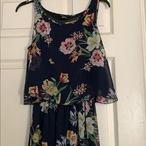 Long flowered dress with overlay size medium